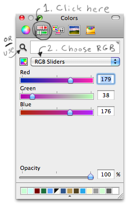 How to choose a color by RGB in Interface Builder.